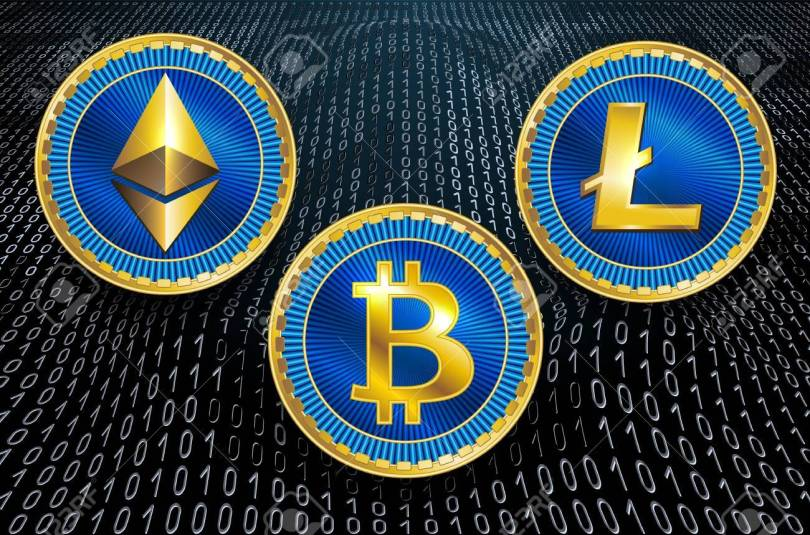Virtual symbols of the coin bitcoin, litecoin and ethereum on  b
